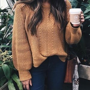 Madewell Balloon Sleeve Pullover Sweater in Gold